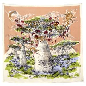 Dior Beige Magical Baobab Printed Square Silk Scarf