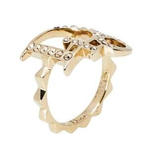 Dior Gold Tone Crystal Embedded Logo Ring Size EU 50