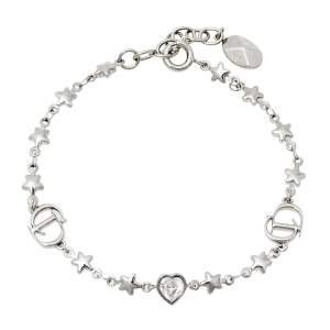Dior Crystal Heart and Star CD Logo Station Bracelet