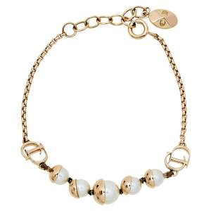 Dior Tribales Faux Pearl Gold Tone Station Bracelet