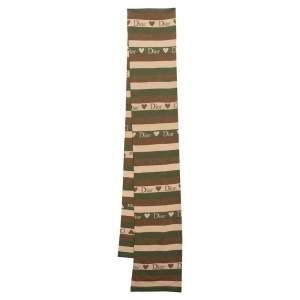 Dior Brown Logo Heart Striped Wool & Silk Knit Scarf