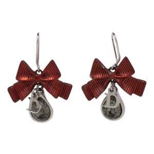 Dior Crystal Silver/Red Tone Textured Bow Drop Earrings