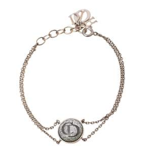 Dior Silver Tone Metallic CD Inlay Charm Bracelet