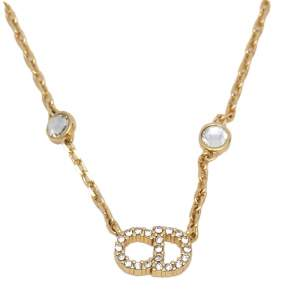 Dior Gold Tone Faux Pearls & Crystals Clair D Lune Necklace