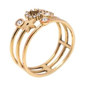 Dior CD Crystal Gold Tone Shiny D Ring Size 55