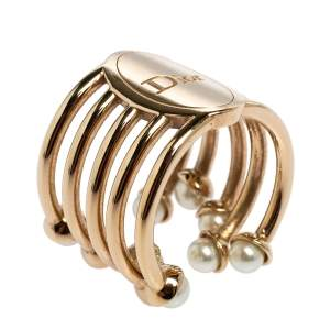 Dior Diorific Faux Pearl Gold Tone Ring Size EU 53