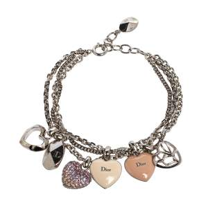 Dior Silver Tone Pop Hearts Crystal Charm Bracelet