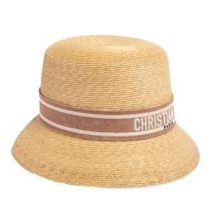 Dior Beige Straw Small Brim Dioresort Hat Size 57