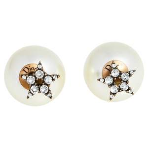 Dior Crystal Star Aged Gold Tone Faux Pearl Tribales Earrings