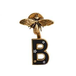 قرط ديور ماي  ABC ديور ليتر B  مونو عقيق ذهبي اللون