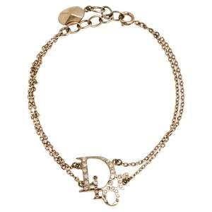 Dior Gold Tone Crystal Oblique Bracelet