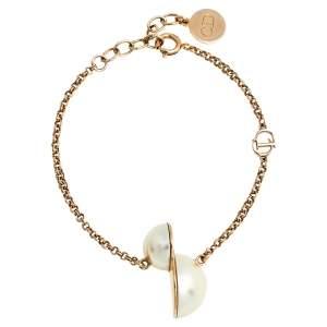 Dior Tribales Half Faux Pearl Gold Tone Bracelet