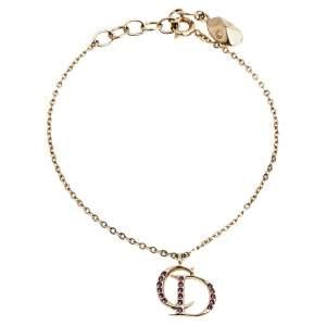 Dior Crystal CD Charm Gold Tone Bracelet