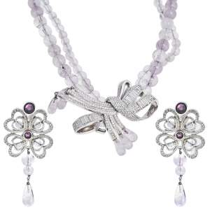 Dior Vintage Beaded Crystal Bow Pendant Necklace and Earrings Set