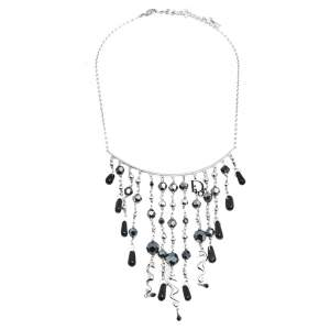 Dior Black Beaded Logo Charm Tasseled Choker Necklace