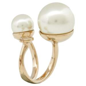 Dior Ultradior Faux Pearl Gold Tone Ring Size 50.5