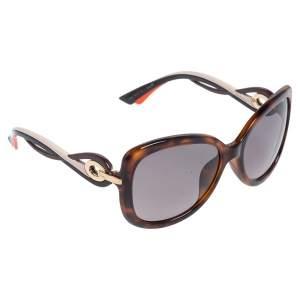 Dior Brown Tortoise Acetate Dior Twisting Oversized Sunglasses