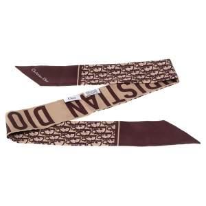 Dior Burgundy & Beige Oblique Silk Twilly