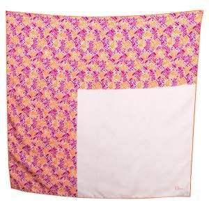 Dior Orange & Pink Printed Silk Square Scarf