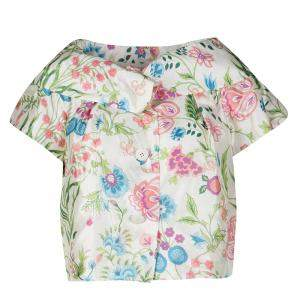 Dior Cream Floral Printed Cropped Short Sleeve Jacket M