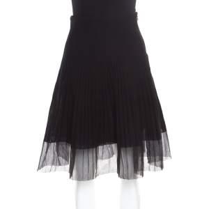 Dior Black Cotton Pleated Sheer Hem Detail Flared Midi Skirt M