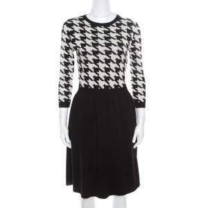 Dior Monochrome Houndstooth Paneled Wool Dress S