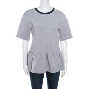 Dior Grey Knit Contrast Ribbed Neck Peplum Top S
