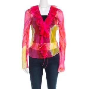 Christian Dior Pink and Yellow Printed Sheer Silk Wrap Top M
