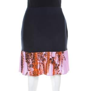 Dior Navy Blue and Lilac Floral Printed Silk Pleated Detail Mini Skirt M