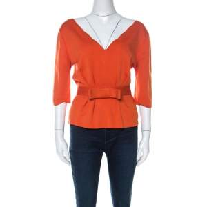 Dior Burnt Orange Silk Blend Scallop Neckline Belted Peplum Top L