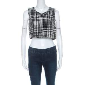 Dior Black & White Tweed Sleeveless Double Breasted Fold Over Crop Top S
