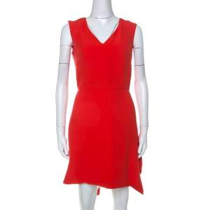 Dior Orange Silk Wool Asymmetric Hem Sleeveless Dress S