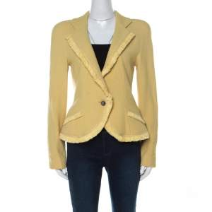 Christian Dior Yellow Wool Ribbon Tweed Fringe Trim Detail Jacket L