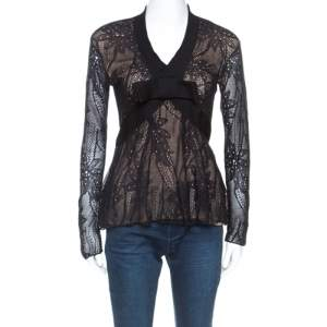 Christian Dior Black Lace Rib Trim Long Sleeve Top M
