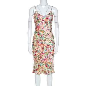 Christian Dior Multicolor Floral Print Silk Slip Dress S