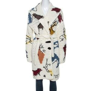 Christian Dior Off White Abstract Knit Chunky Belted Cardigan S