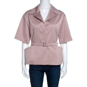 Christian Dior Blush Pink Silk Belted Top M