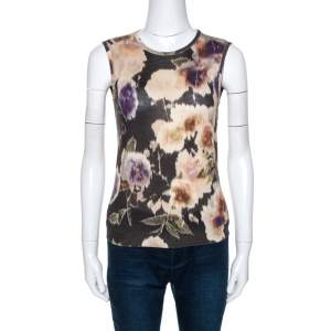 Dior Multicolor Floral Print Wool Silk Knit Sleeveless Top M