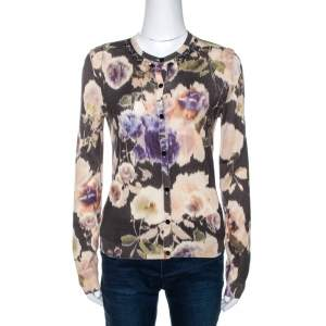 Dior Multicolor Floral Print Wool Silk Knit Embellished Cardigan M