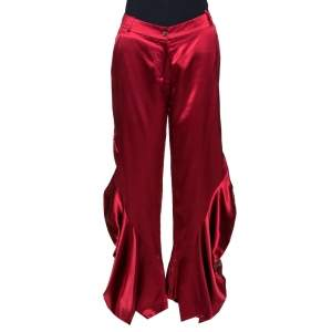 Dior Red Silk Satin Ruffle Detail Wide Leg Pants M