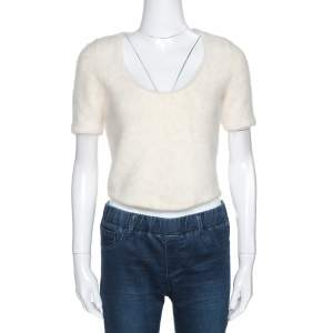 Christian Dior Boutique Cream Angora and Alpaca Wool Blend Fuzzy Crop Top L