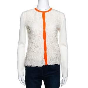 Dior Cream Guipure Lace & Knit Contrast Neon Trim Cardigan S