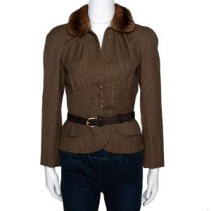 Dior Brown Houndstooth Wool Fur Trim Belted Jacket S