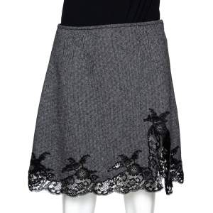 Dior Monochrome Wool Lace Trim Mini Skirt M