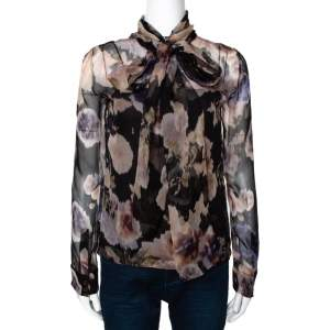 Dior Black & Peach Floral Print Silk Neck Tie Detail Blouse S