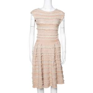 Dior Peach Wool & Cashmere Blend Boucle Tweed Flared Dress S