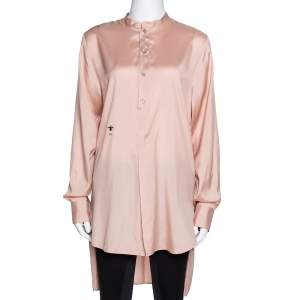 Dior Peach Logo Bee Embroidered Silk Long Sleeve Blouse M