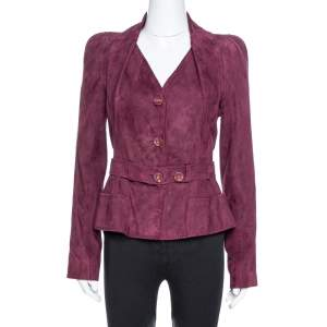 Dior Burgundy Suede Belted Button Front Jacket L