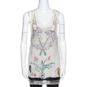 Dior Cream Le Jugement Embroidered Tulle Sleeveless Top S