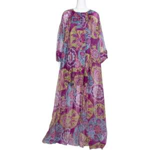 Dior Purple Floral Print Organza Oversized Kaftan Dress (One Size)